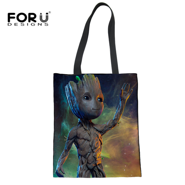 Forudesigns Galaxy Groot Print Linen Tote Bags Recycled Mom Ping Bag Women Casual Handbags For Lady