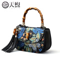 Pmsix 2017 Chinese Style first layer of leather cowskin fashion handbag shoulder retro bag embossed handbag  P110035