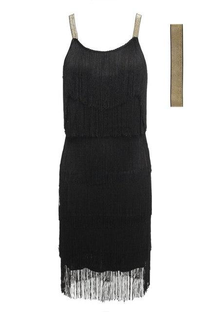 Vintage Vestido 1920s Flapper Girl Fancy Dress Great Gatsby Dress Costumes Slash Neck Tiered Fringe Swing Party Dress Headband