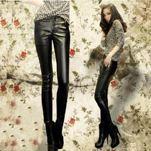 Black spring pencil pants leather-based girls 1 trousers slim for the ladies's leather-based pants excessive waist pants capris for girls