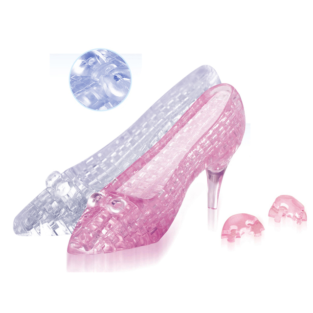 Candice guo! New arrival hot sale 3D crystal puzzle high heeled shoes cute glass slipper shoe model funny game creative gift 1pc