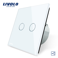 Manufacturer Livolo EU Standard Touch Switch 2 Gang 2 Way Control 3 Color Crystal Glass Panel