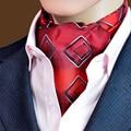 LJ11 hombres Azul Rojo Marrón Geométrica Vintage Corbata Corbata Ascot Tie Gentleman Auto Atado de Poliéster de Seda Bufandas Bufanda de Cuello empate