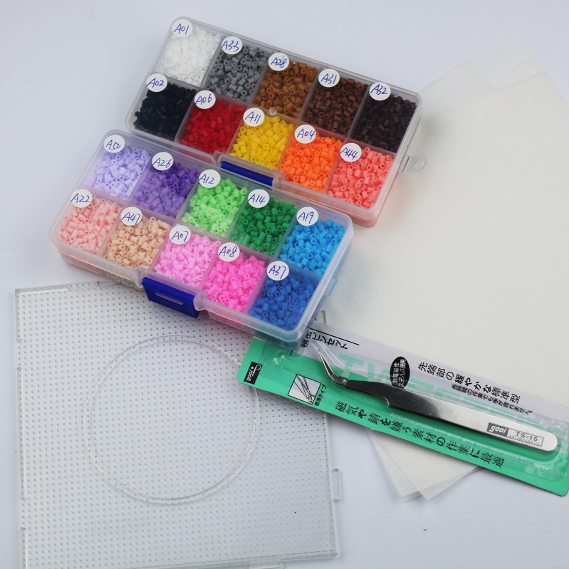 mini 2.6mm hama beads about 8400pcs 1 large pegboards 20 colors 2box set food gr