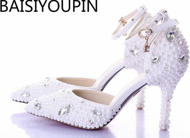 2018 Summer White Pearl Diamond Bride Shoes High Heels Fine with Wrist Strap Shoes Female Sandals Stage Sweet Wedding Shoes2018 Summer White Pearl Diamond Bride Shoes High Heels Fine with Wrist Strap Shoes Female Sandals Stage Sweet Wedding Shoes