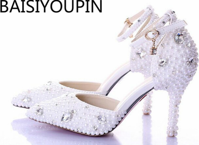 2018 Summer White Pearl Diamond Bride Shoes High Heels Fine with Wrist Strap  Shoes Female Sandals Stage Sweet Wedding Shoes 8409c0d77d63