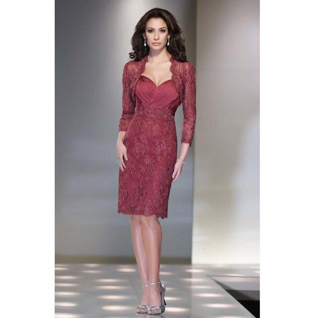 Custom Made Vestido De Madrinha Free Bolero Russet Red Chiffon ...