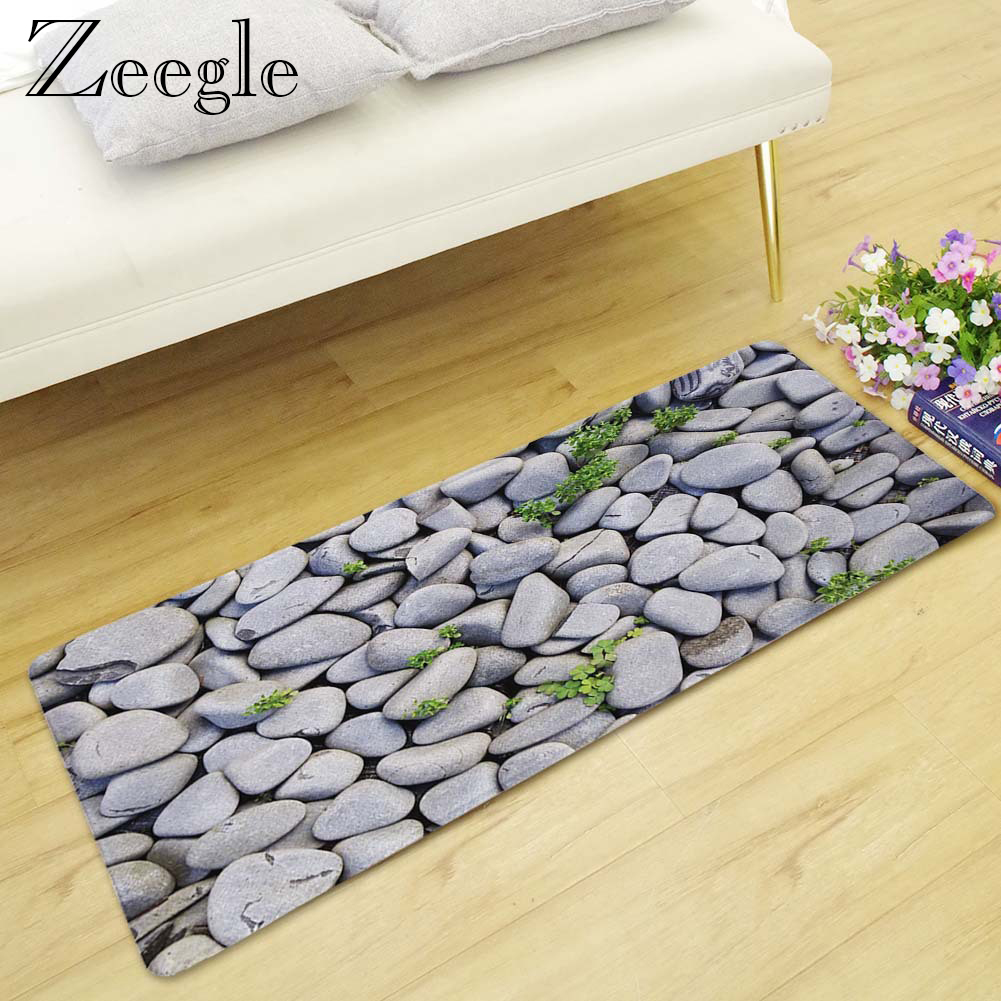 Zeegle 3D Stone Printed Long Livingroom Carpet Welcome Mats For Front Door And Non-slip Kitchen Rug Washable Shower Carpet