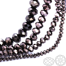 OlingArt 3/4/6/8/10mm Round Beads Rondelle Austria faceted Multicolored crystal Metal grey color Loose bead DIY Jewelry Making