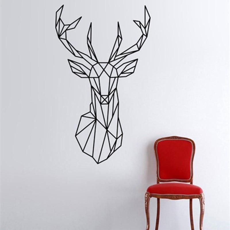 Vinilos Paredes Deer Wall Sticker Design Geometric Deer Head Geometry  Animal Series Decals 3D Vinyl Wall