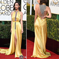 74th Red Carpet Dress Sexy Chiffon Faced Satin A Line Front Slit Yellow Emily Ratajkowski Globe Awards 2017 Celebrity Dresses
