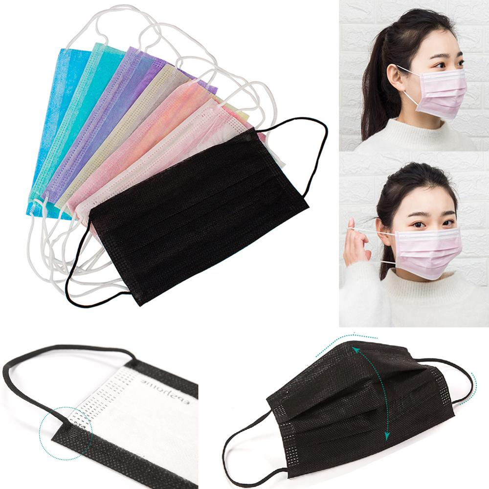20PCS/Pack Colored Anti-dust Windproof Mask Durable Disposable Mouth Nose Face Care Eyelash Extension Non-woven Fabric Masks