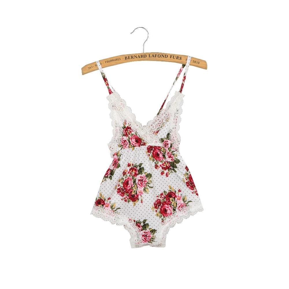 nyfödda baby rompers spets vintage floral baby jumpsuit sommar baby - Babykläder