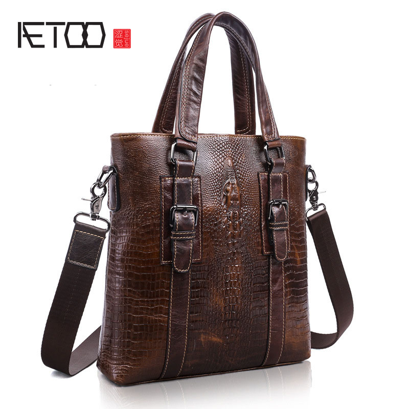 AETOO Covered men's new men and women in Europe and America casual men's men's crocodile pattern messenger bag the original single in europe and america 2015