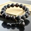 Alta Qualidade Preto Pau Preto Com Seis Palavras Bracelete Esculpido 12mm Jóias De Madeira Para Homens e Mulheres Presente