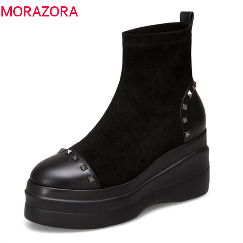 MORAZORA 2018 top quality genuine leather female shoes round toe autumn winter ankle boots for women punk rivet platform boots morazora 2018 top quality genuine leather boots round toe short plush autumn winter ankle boots for women zip square heel shoes