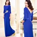 Melhor Qualidade 2017 Sereia Mãe Da Noiva Vestidos Longos cetim Azul Marinho Mãe Da Noiva Vestidos Para Casamento Com Ouro Beading