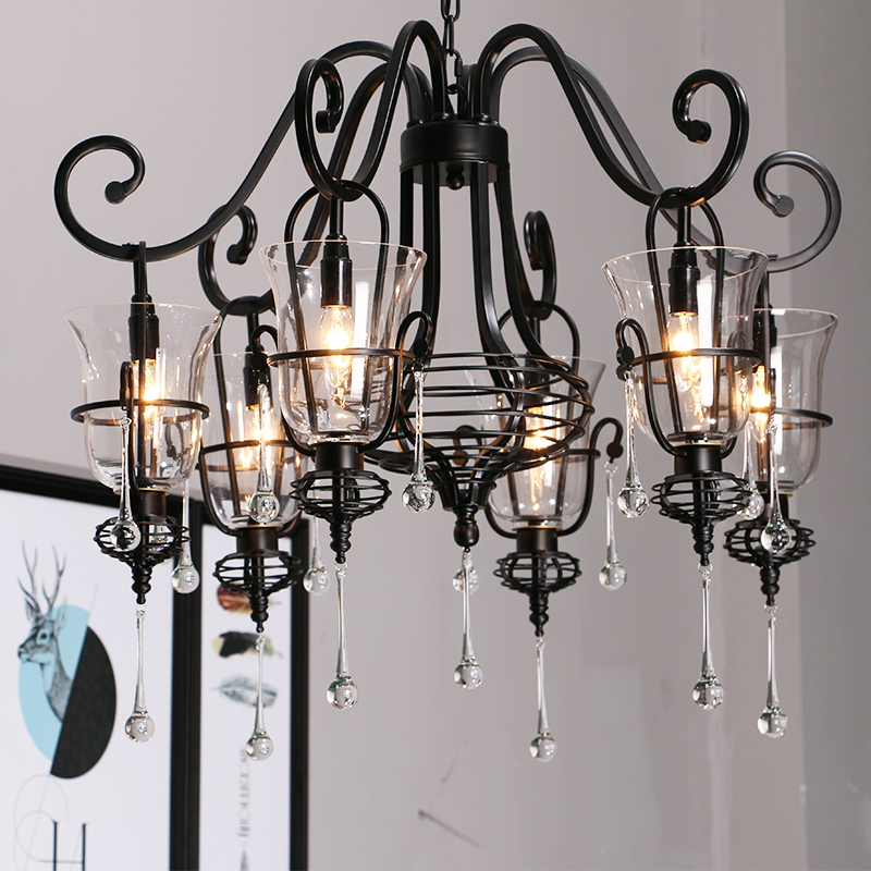 hallway Retro wrought iron crystal chandelier glass shade candelabro 3-6 heads Bar Spider lampe suspension Black LED chandeliers цена