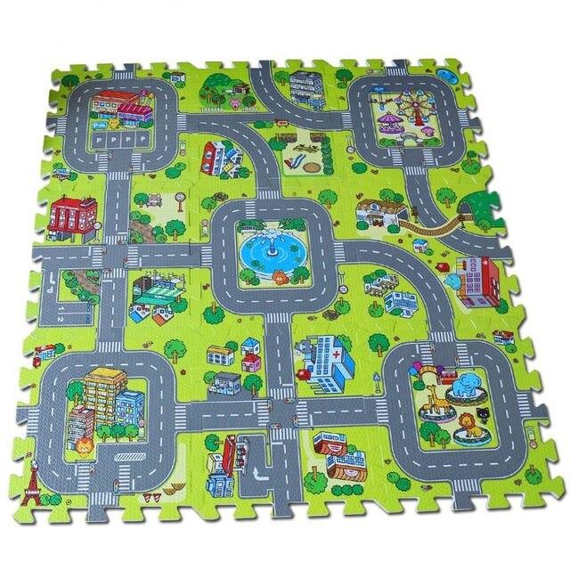 [Funny] 9pcs/set City Road Garden EVA Foam puzzle Play Mat game sport Mat Rug Floor Soft Safe Crawling Carpets For Kids baby toy