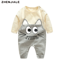 Child Rompers Women lengthy sleeve Clothes Buttons Cartoon cat print jumpsuit for boys toddler Sports activities Informal Cotton crawling Fits