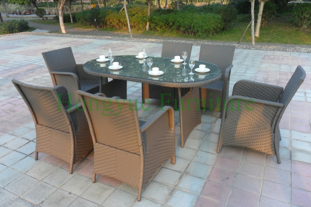 Dining table chairs in rattan materials,outdoor garden dining set
