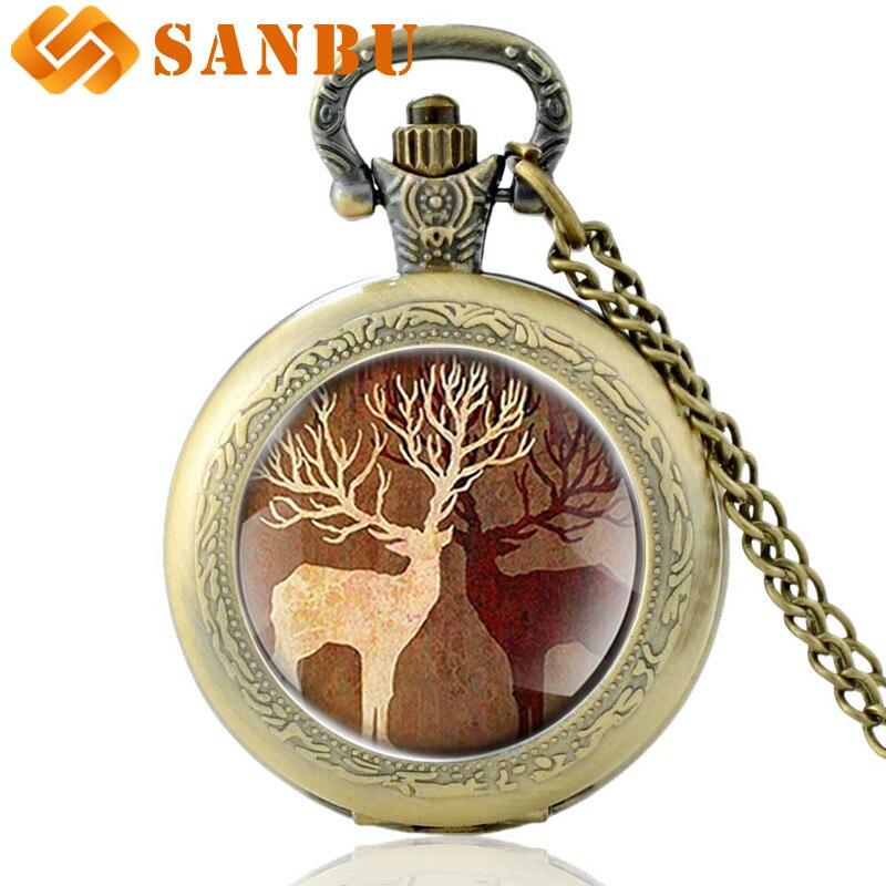 Luck Elk Elaphurus Davidianus Quartz Pocket Watch Vintage Men Women Bronze Necklace Pendant Watches Gifts
