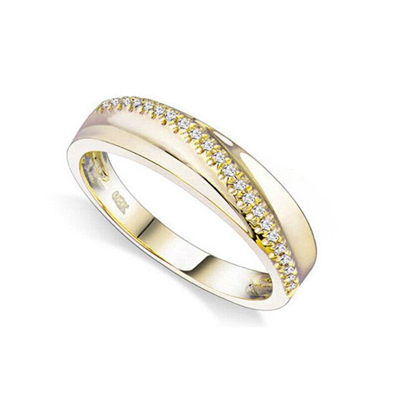 Amateurs Anneau Réel Diamond Ring Pour Les Femmes Fine Jewelry Vintage Naturel Diamant Solide 14 k Jaune Or Engagement Wedding Band anneau
