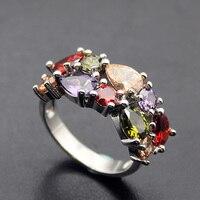 Hermosa biżuteria rainbow mulit granat peridot morganite 925 sterling silver rings 8 #