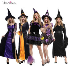 Umorden Purim Carnival Halloween Party Costumes Fancy Witch Dress for Women Adult Witch Costume Cosplay Dresses Hat Set цена