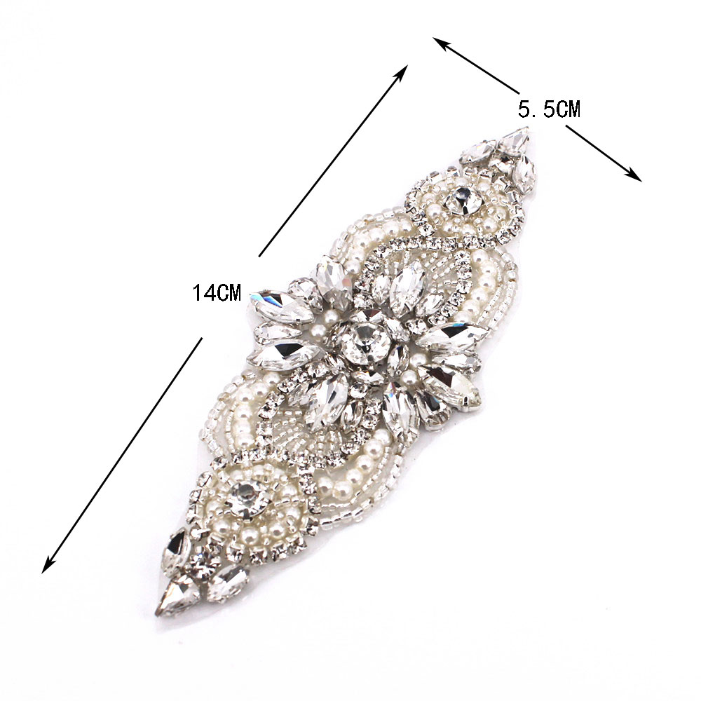 1 PCS Silver Sew On Rhinestone Appliques Bridal Accessories Rhinestone Appliques For Wedding Belt Shoes Jacket Jewelry DIYl