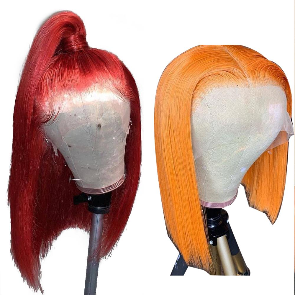 13x4 Short Bob Lace Front Human Hair Wigs Colored Virgin Hair Wigs Pre Plucked 613 Blonde Red Pink Blue Orange Hot Beauty Hair-in Human Hair Lace Wigs from Hair Extensions & Wigs    1