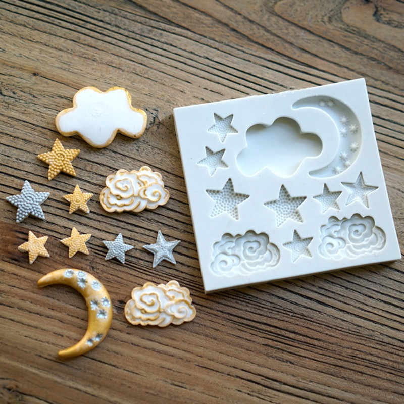Aouke Star Moon Shape Silicone Mould DIY Fondant Cake Mold Gummy Chocolate Mold Baking Appliance