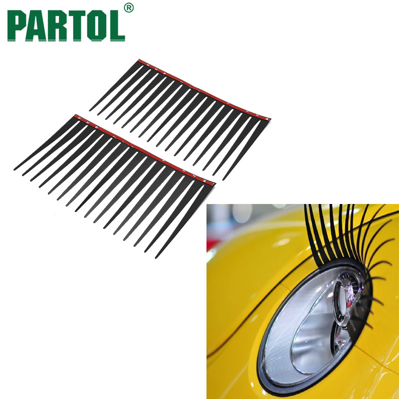 Partol Pvc 3d Headlight Sticker Car Eye Lash Funny Car Eyelashes