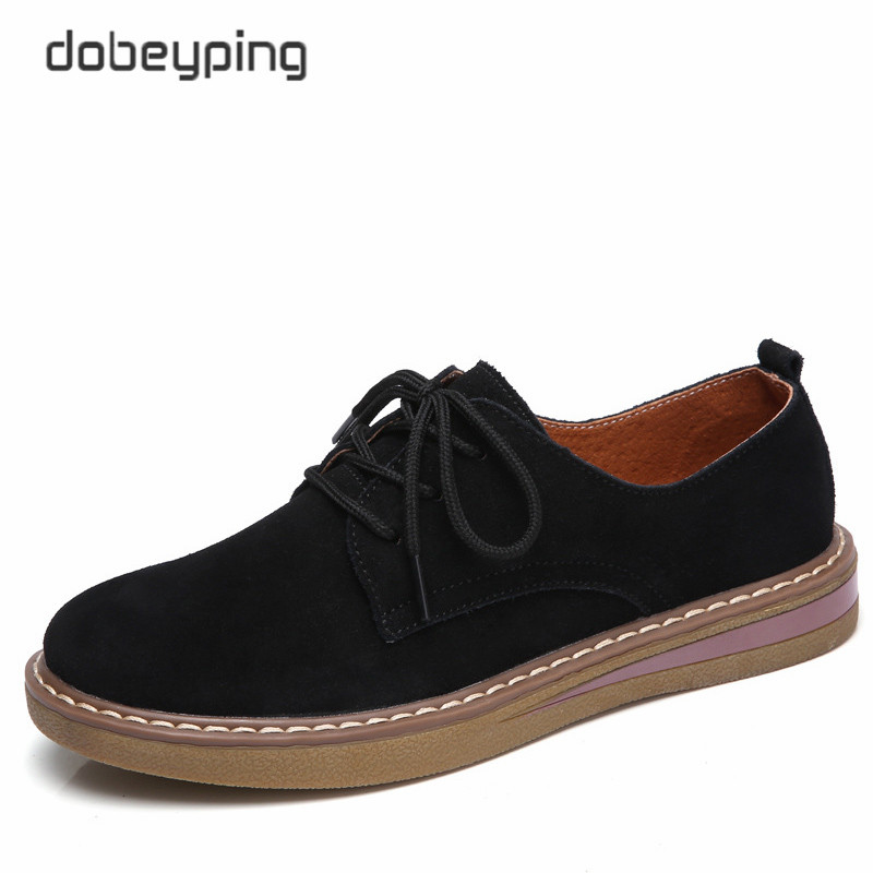 dobeyping 2018 New Spring Shoes Woman Cow Suede Leather Women Shoes Lace-Up Ladies Flats Shoe Soft Solid Oxfords Female Loafers new women canvas shoes casual lace up cute spring candy colors ladies flats white shoes woman free shipping