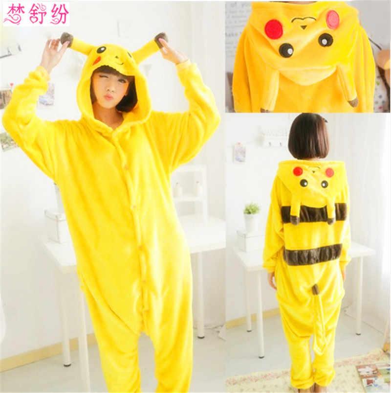 Пикачу животных балахон пижамы для взрослых Желтый унисекс Пикачу Onesie  Костюм Пикачу пижамы 074982512b647