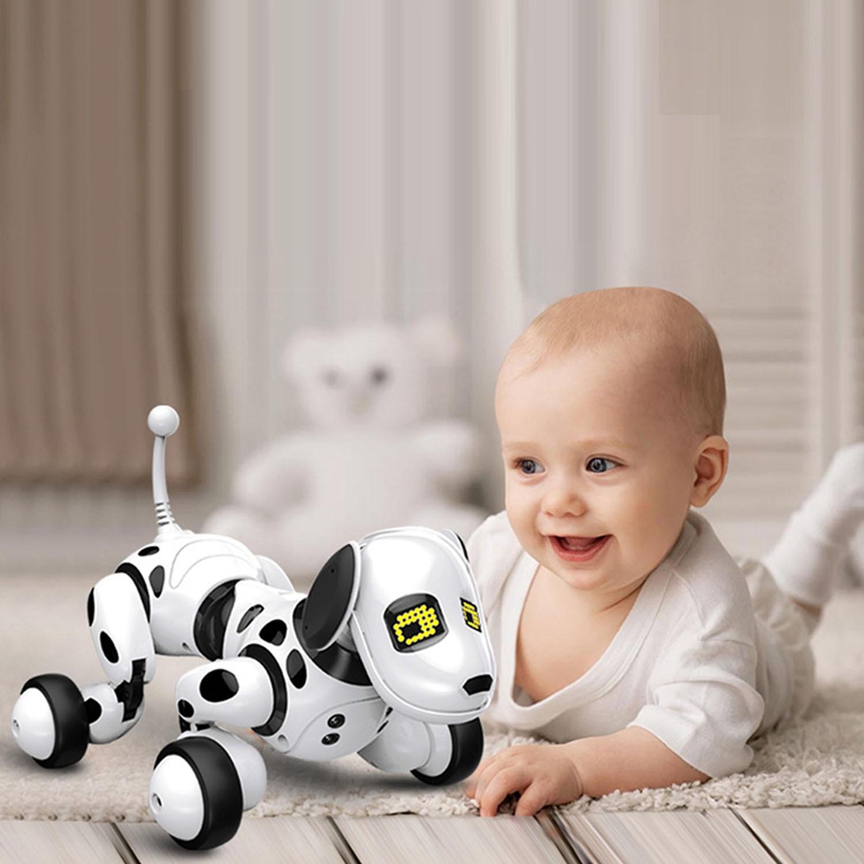 criancas bonito robo inteligente cao de controle remoto sem fio interativo robo filhote cachorro rc falando