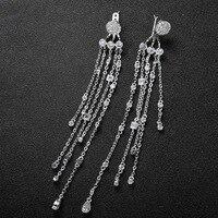 2017 New AAA Zircon Zirconia Chain Long Tassel Drop Earrings For Women Brincos Grandes Luxury Statement