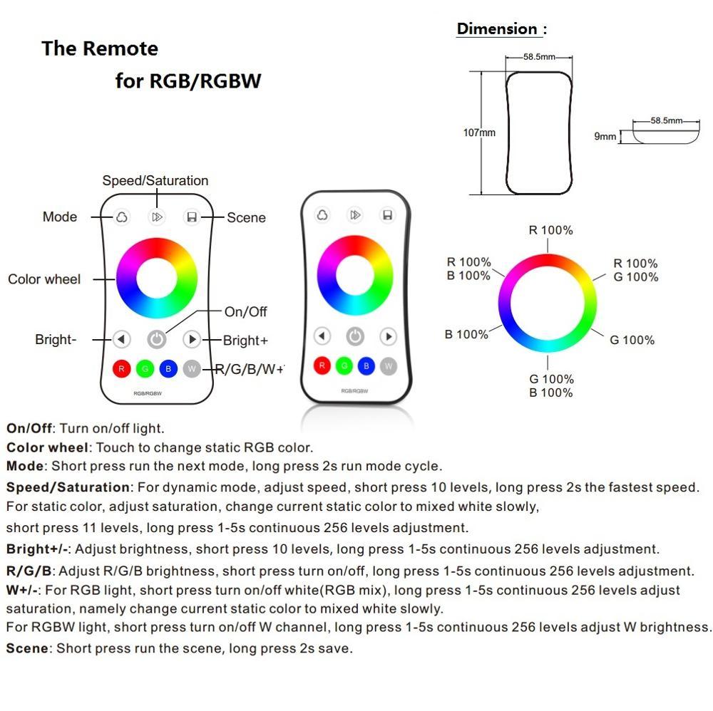 MJJC RGB RGBW LED շերտի վերահսկիչ RF 12v 24v 2.4G - Լուսավորության պարագաներ - Լուսանկար 4