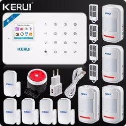 Kerui W18 sistemas de alarma inalámbricos Wifi GSM seguridad IOS APP GSM SMS sistema de alarma antirrobo Sensor de movimiento almacén ruso