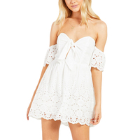 2018 Summer Off Shoulder Hollow Out Bow Lace Dresses White Sexy Loose A Line Women Mini Dress Laides Casual Short Vestidos