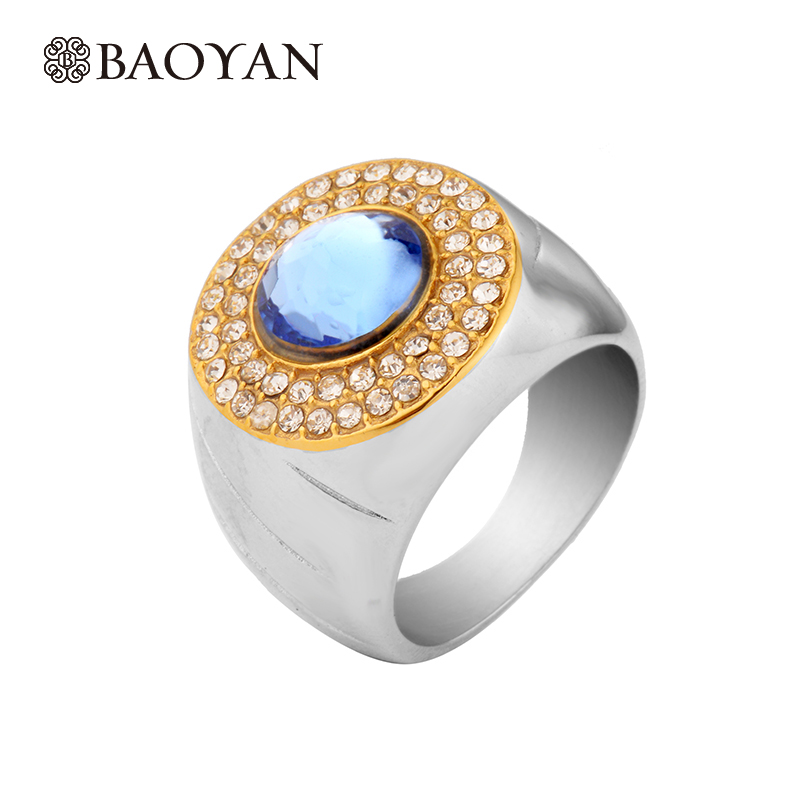 Retro High Quality Stainless Steel Silver Ring For Women Pave Setting Special Blue Color Crystal Big Ring For Women