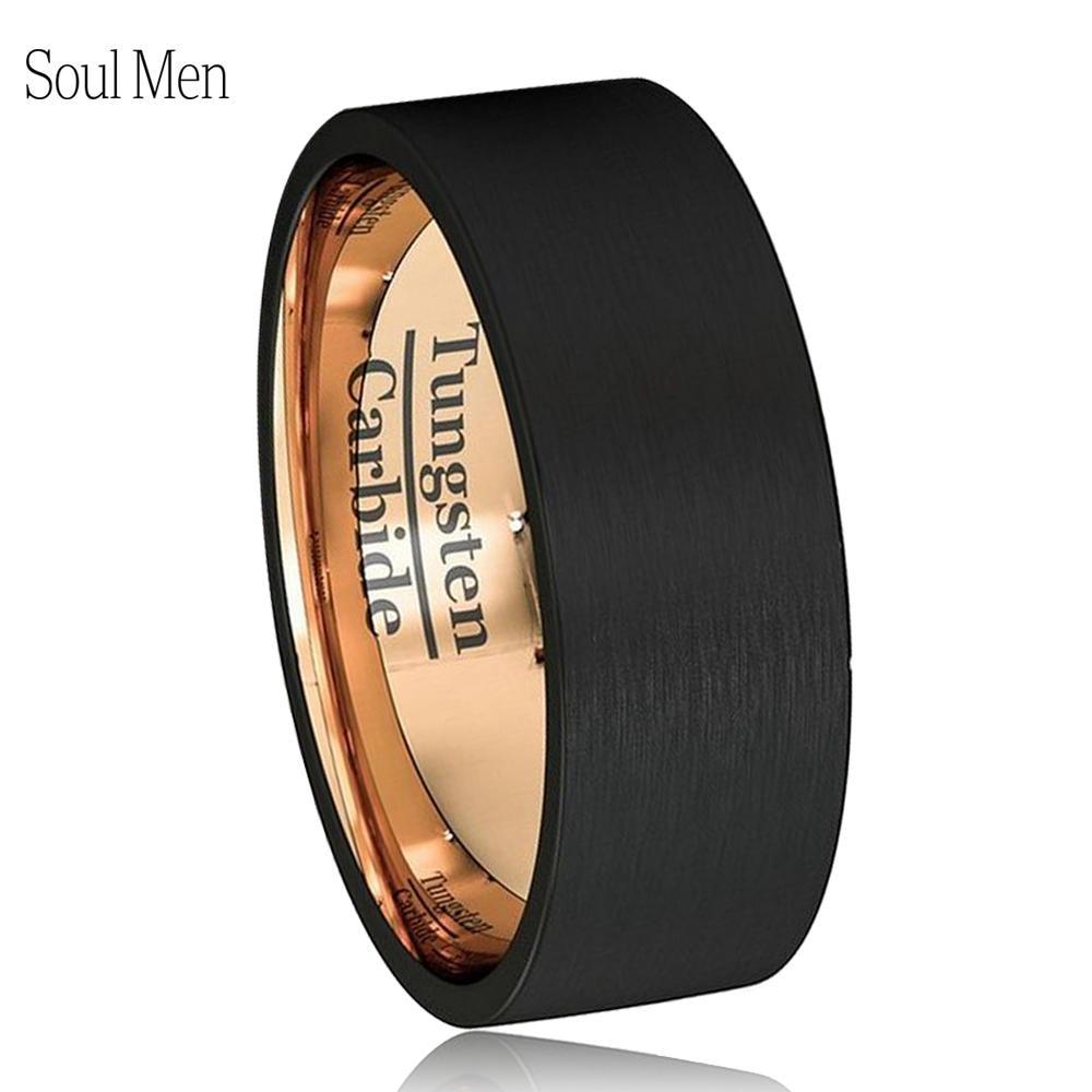 Must meessoost sõrmus roosikuldne pulmabänd volframkarbiidist rõngas 8mm meestele naistele juubeli ehete suurus 7 8 9 10 11 12 13
