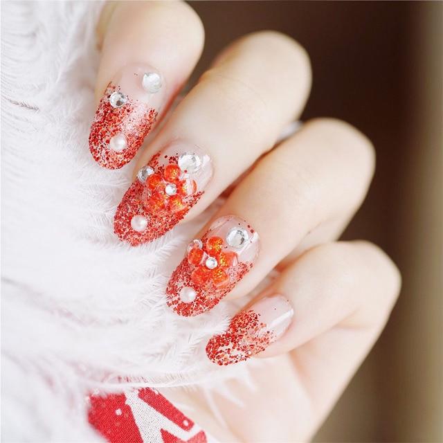 24pcs Set Wedding Bride Nail Art Design Red Flower Glitter Full