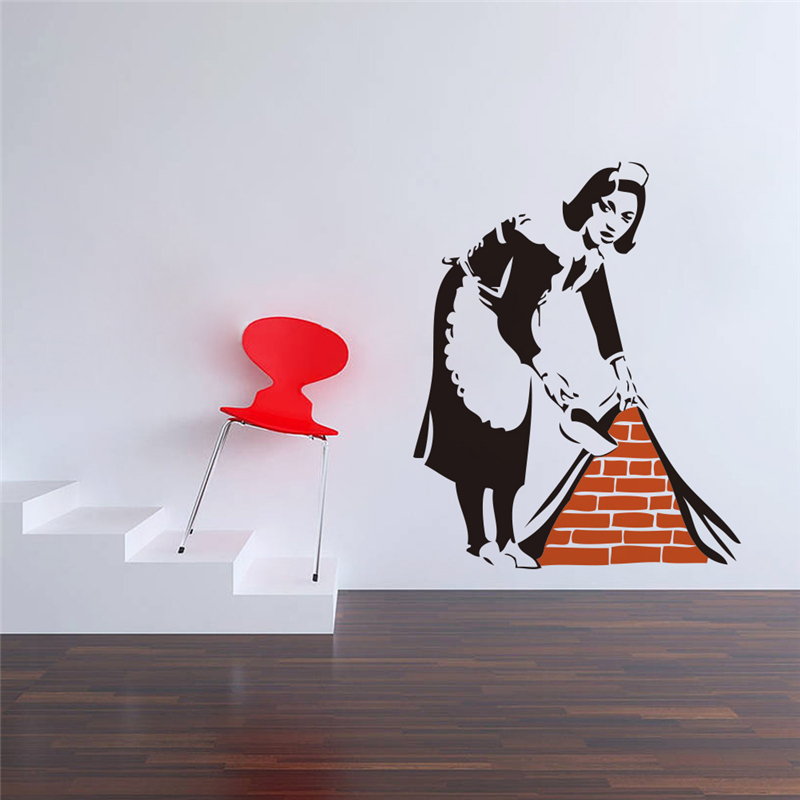 banksy maid wall stickers for living room bedroom home decoration removable decals diy vinyl art