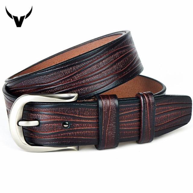 Top Boutique Suave Piel de Vaca Cinturones de Cuero Genuino de Los Hombres, Casuales Para Hombre Cinturones de Hebilla de Pasador, Hebilla de Cinturón de Cuero Real para Los Hombres Q4