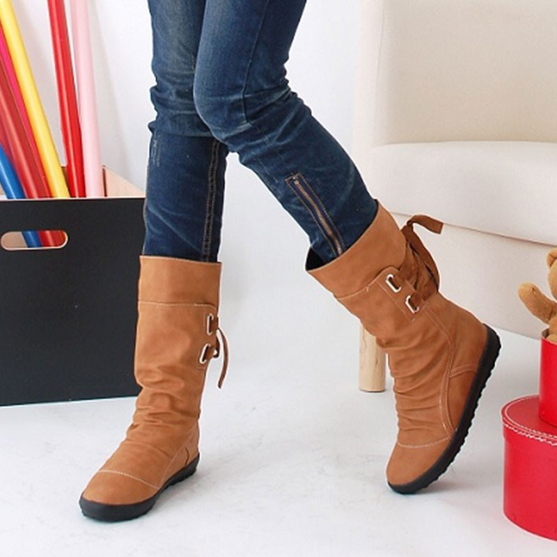Women Winter Snow Boots Mid-Calf Solid Wedges Ladies Height Increasing Shoes Casual Leather Boot Woman Warm Botas Mujer new kids sneakers boys running shoes breathable mesh fashion kids shoes boys girls sport shoes kids casual sapatos infant