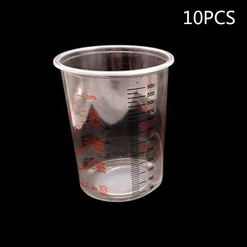 10Pcs Plastic Paint Mixing Cups 600ml Mixing Pot Paint Mixing Calibrated Cup Set L29k