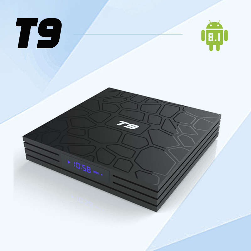 T9 Android 8.1 TV Box RK3328 Quad core 4GB 64GB dual 2.4G/5.8G Wifi 4K HD Smart Streaming Media Player set top box pk H96 max