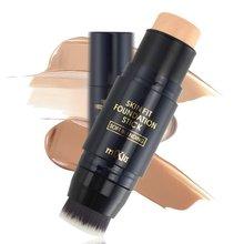 1pc maquiagem fundação sombra corretivo vara com pincéis de maquiagem maquiagem contorno paleta cremosa cobertura óleo-controle beleza