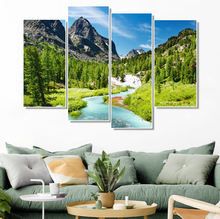 Laeacco Painting Calligraphy Mountain River Posters and Prints  Canvas Wall Artwork for Living Room Bedroom Wedding Decoration